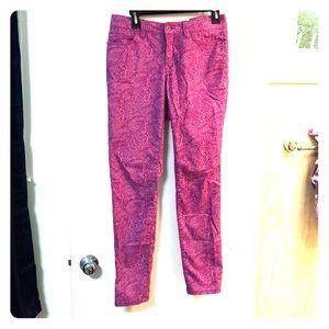 LOFT Pink Paisley Print modern skinny pants